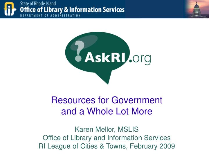 Resources for Government