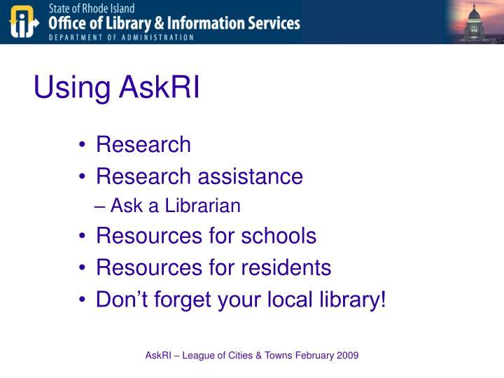 Using AskRI