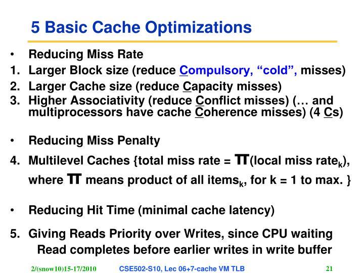 5 Basic Cache Optimizations