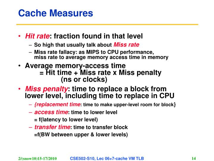 Cache Measures