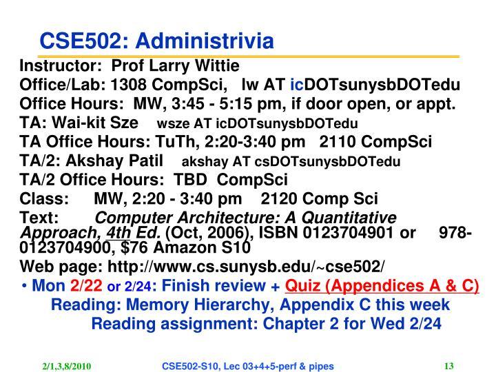 CSE502: Administrivia