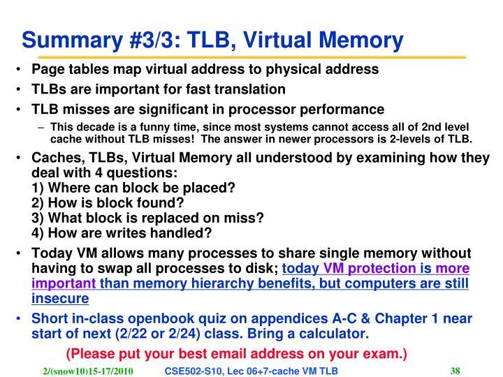 Summary #3/3: TLB, Virtual Memory