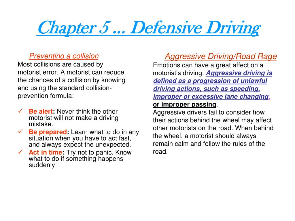 ppt - chapter 5 … defensive driving powerpoint presentation - id:5355191