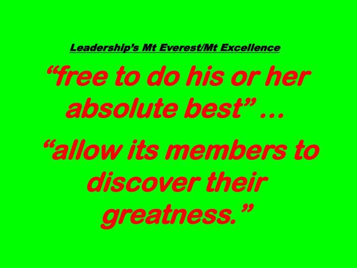 Leadership's Mt Everest/Mt Excellence