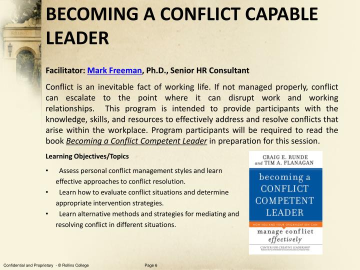 BECOMING A CONFLICT CAPABLE LEADER