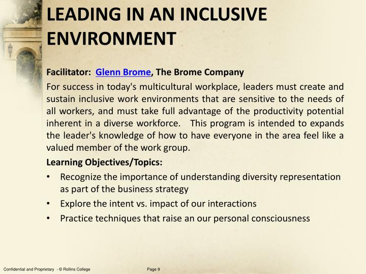LEADING IN AN INCLUSIVE ENVIRONMENT