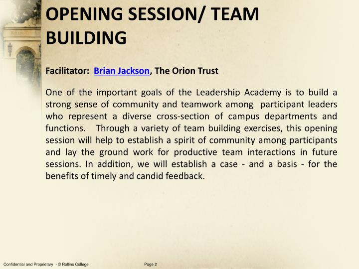 Opening session team building