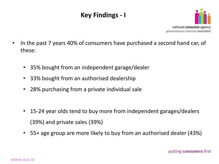 Key Findings - I