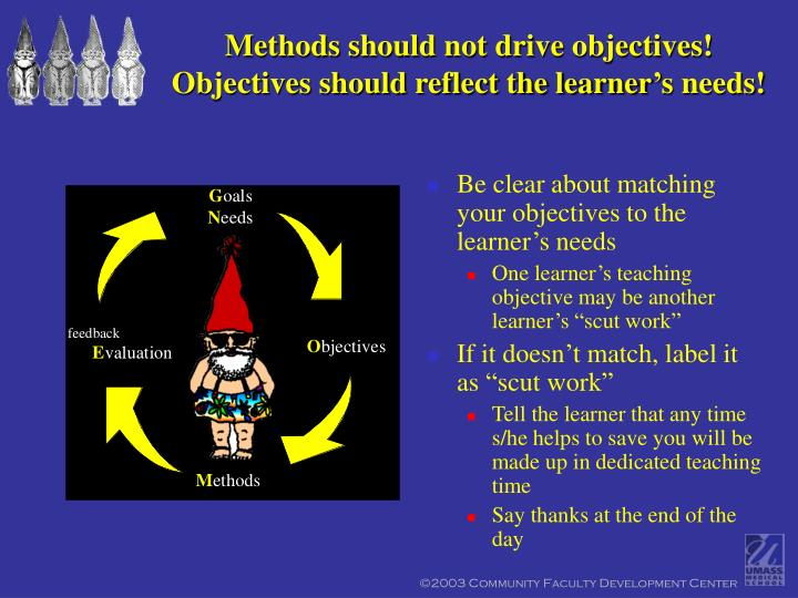 Methods should not drive objectives!