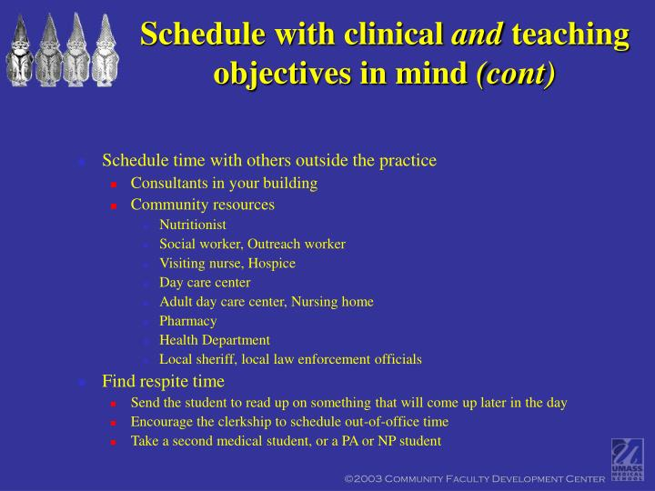 Schedule with clinical