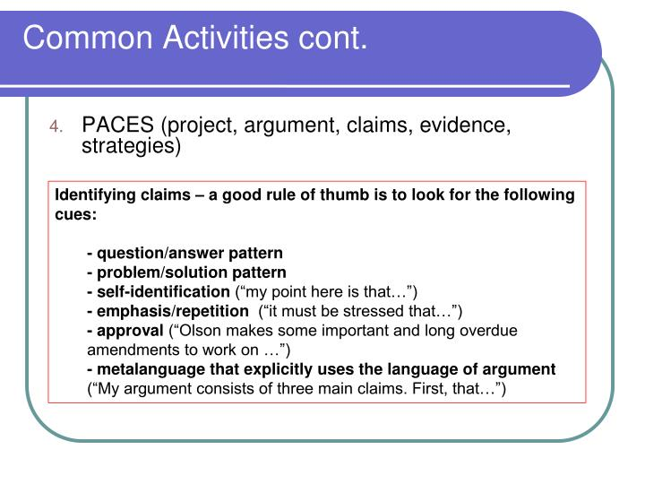 Common Activities cont.