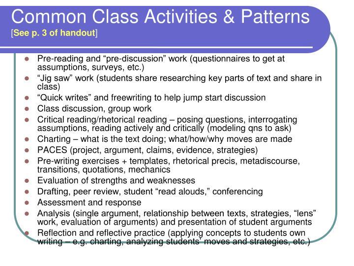 Common Class Activities & Patterns