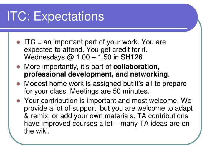 ITC: Expectations