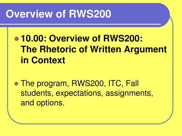 Overview of rws200
