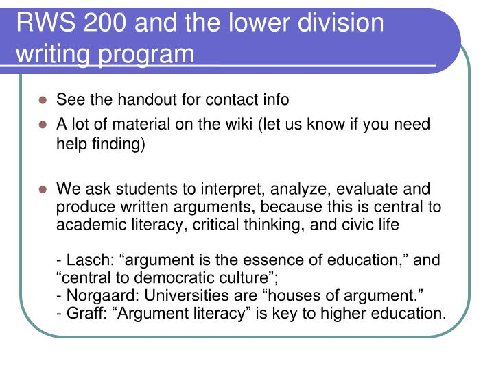 Rws 200 and the lower division writing program