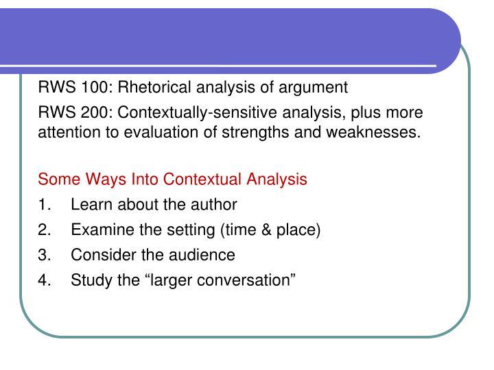 RWS 100: Rhetorical analysis of argument