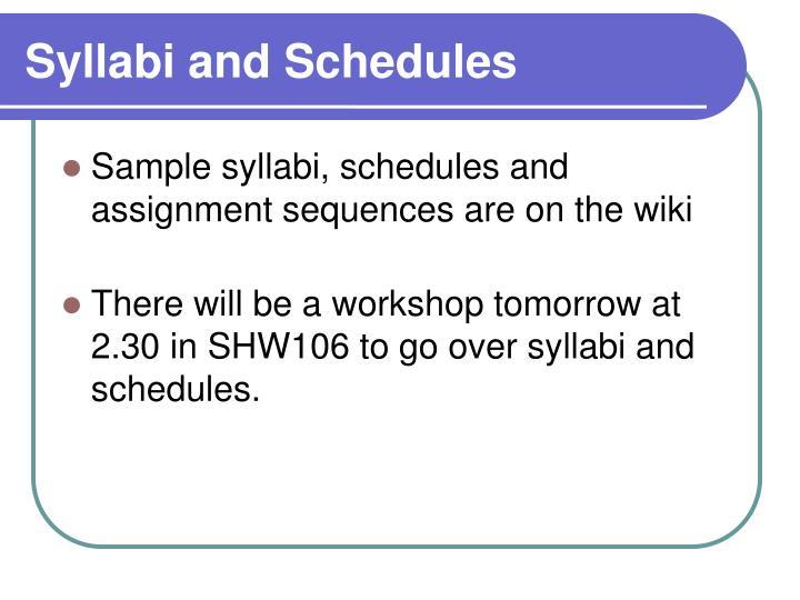 Syllabi and Schedules