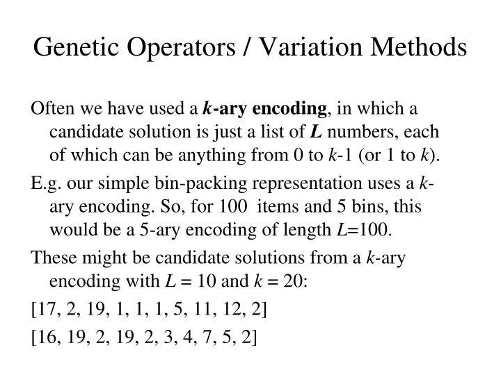 Genetic operators variation methods