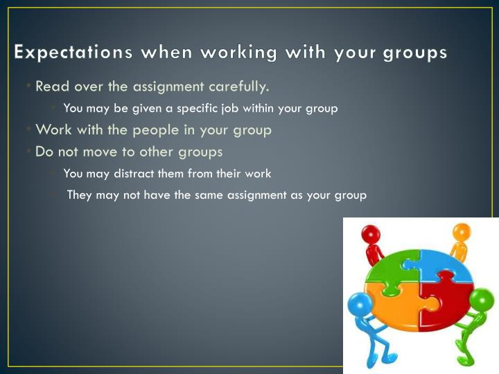 Expectations when working with your groups