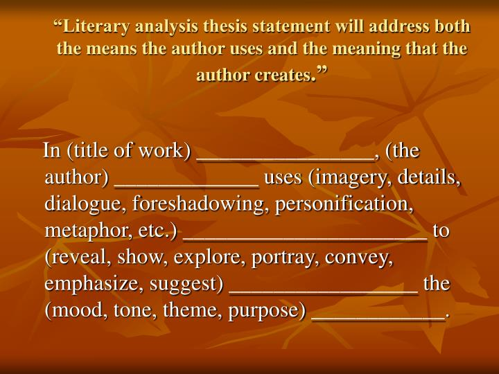 childrens literature thesis statement A solid thesis statement will always be the heart of your essay -- learn how to write an effective thesis statement with these tips and examples.