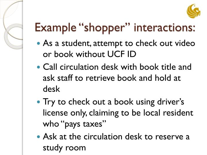 "Example ""shopper"" interactions:"