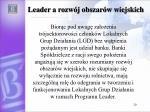 leader a rozw j obszar w wiejskich
