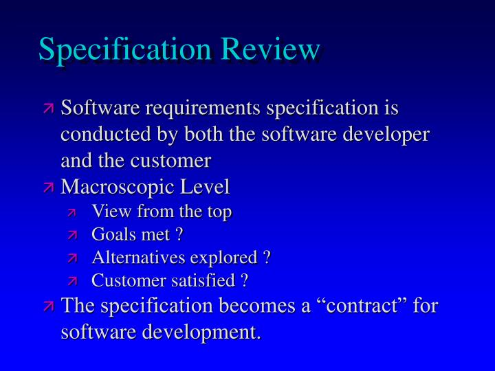 Specification Review