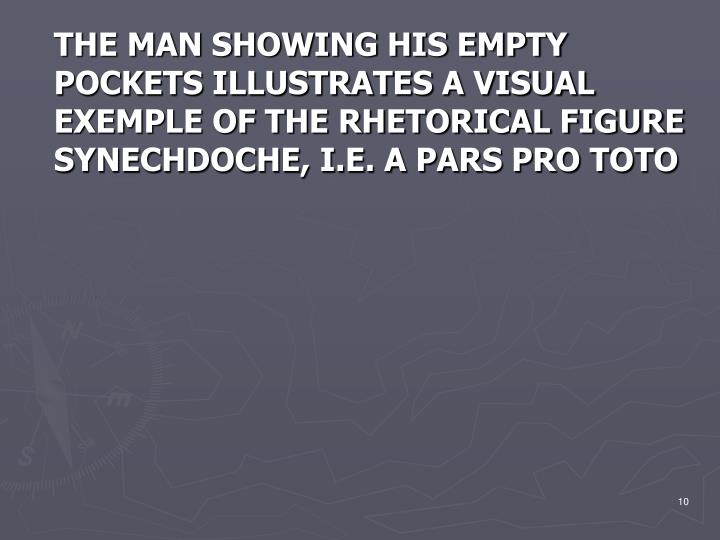 THE MAN SHOWING HIS EMPTY POCKETS ILLUSTRATES A VISUAL EXEMPLE OF THE RHETORICAL FIGURE SYNECHDOCHE, I.E. A PARS PRO TOTO