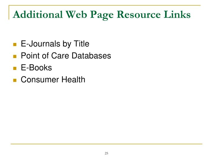 Additional Web Page Resource Links