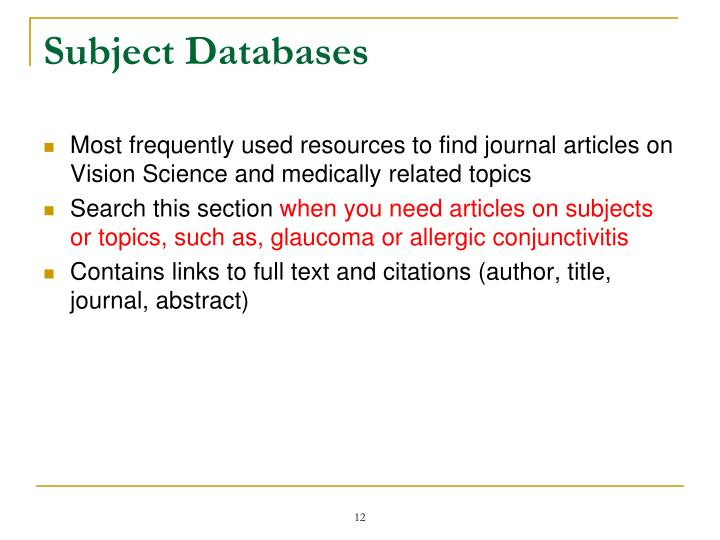 Subject Databases
