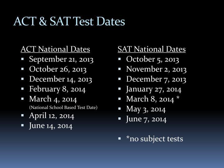 ACT & SAT Test Dates