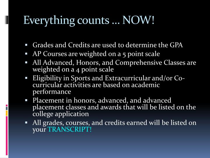 Everything counts … NOW!
