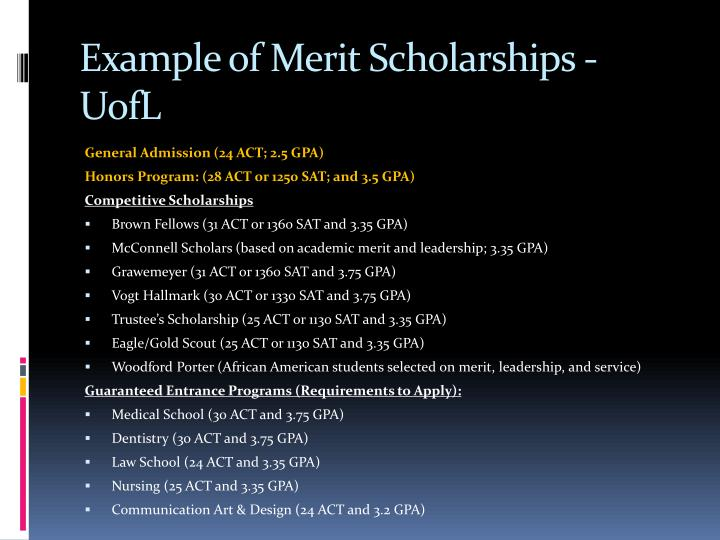 Example of Merit Scholarships -