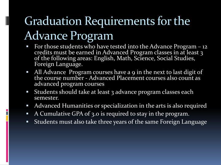Graduation Requirements for the Advance Program