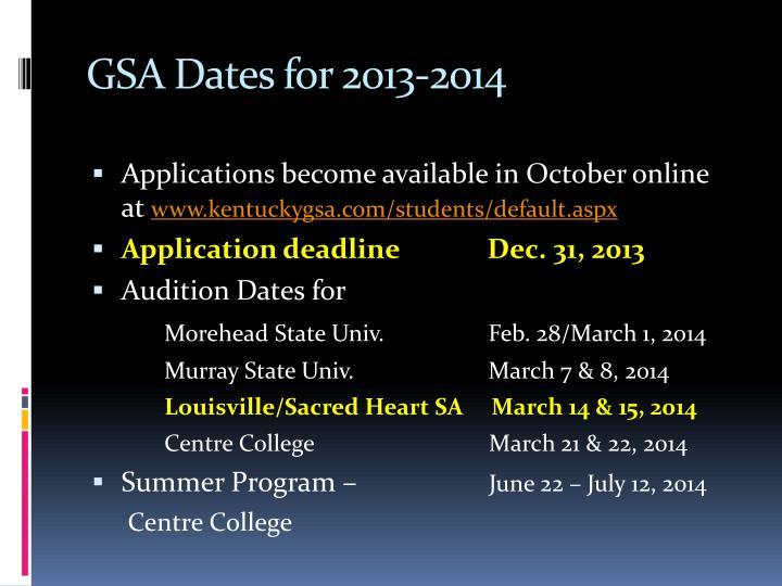 GSA Dates for 2013-2014