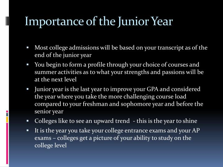 Importance of the Junior Year