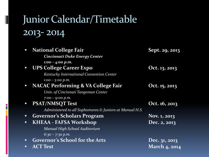Junior calendar timetable 2013 2014