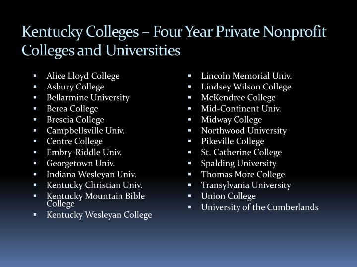 Kentucky Colleges – Four Year Private Nonprofit Colleges and Universities
