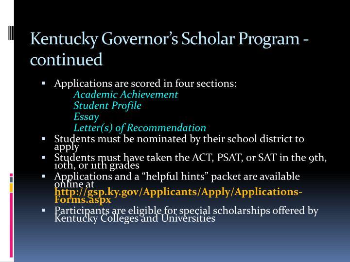 Kentucky Governor's Scholar Program - continued