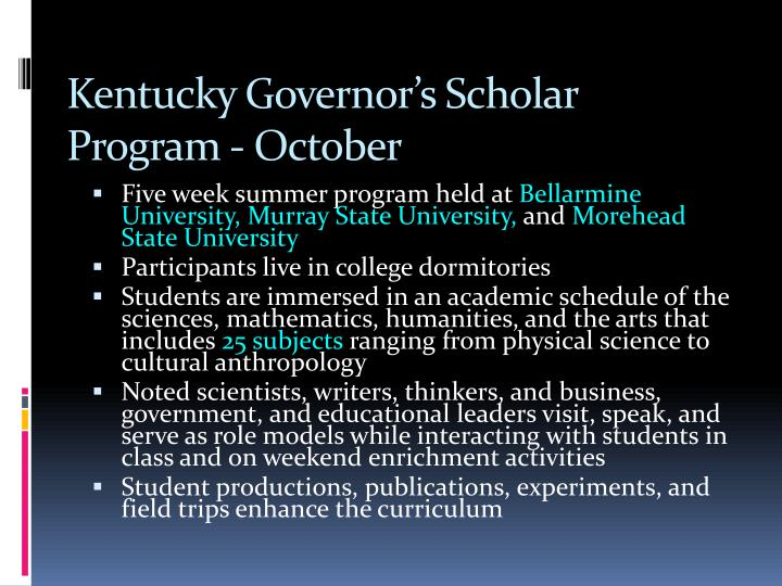 Kentucky Governor's Scholar Program - October