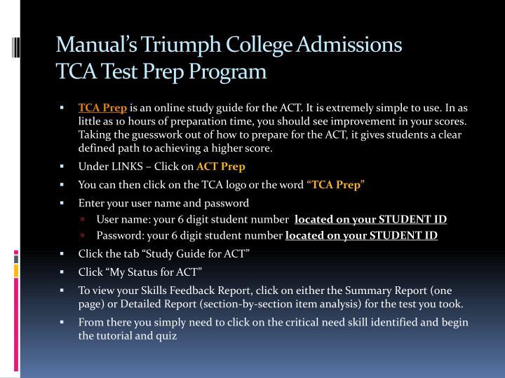 Manual's Triumph College Admissions