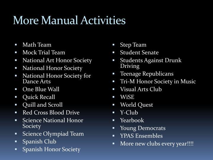 More Manual Activities