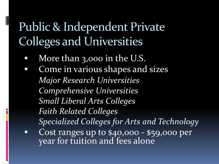 Public & Independent Private Colleges and Universities