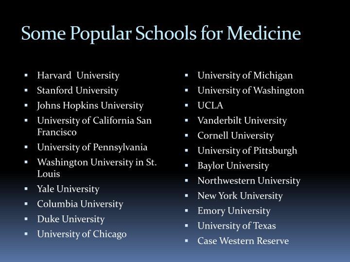 Some Popular Schools for Medicine