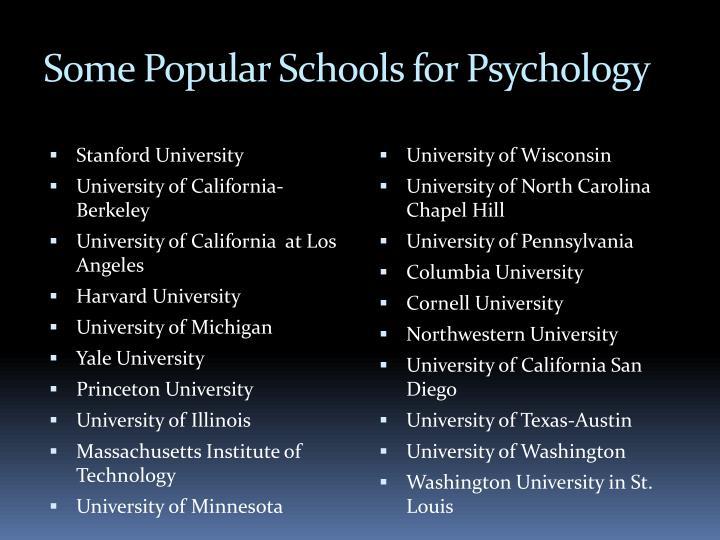 Some Popular Schools for Psychology