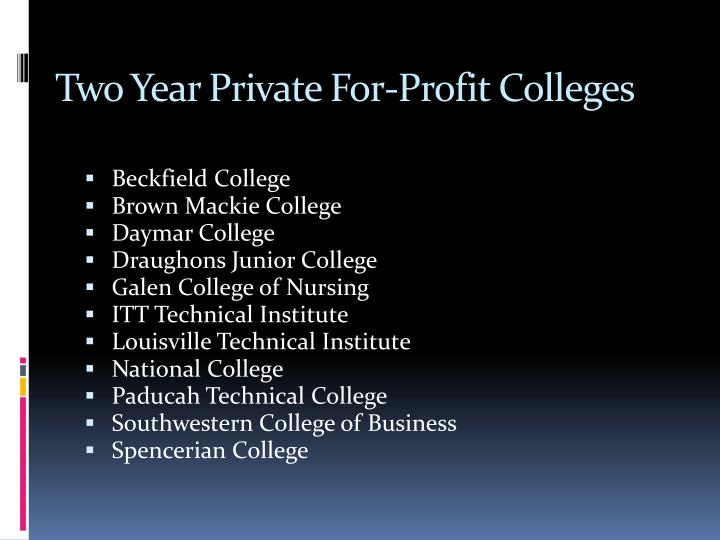 Two Year Private For-Profit Colleges