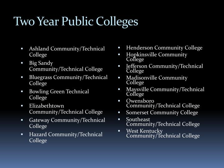 Two Year Public Colleges