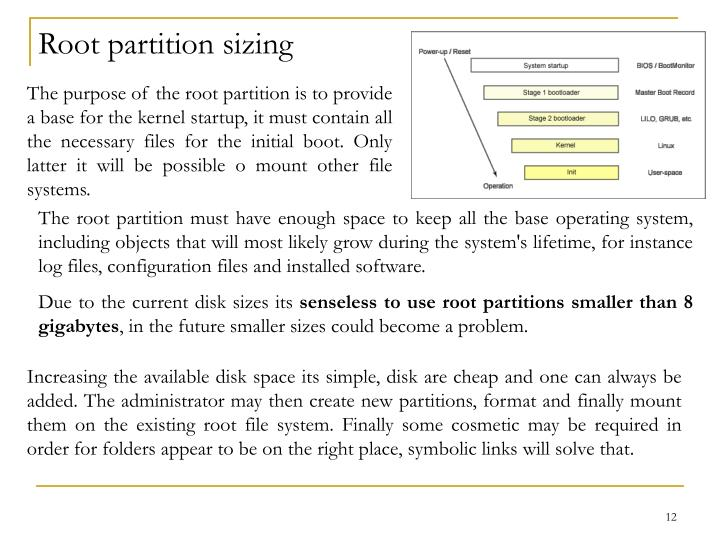 Root partition sizing