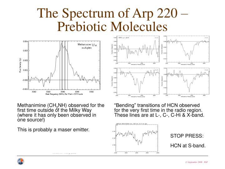 The Spectrum of Arp 220 – Prebiotic Molecules