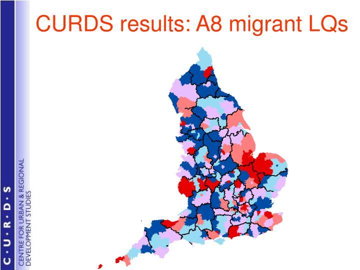 CURDS results: A8 migrant LQs